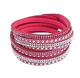 Qinlee Bijoux Bracelet Homme Bracelet Cuir Brésilien, Chaîne de Main, Valentine Cadeaux Pour Hommes Femmes (Rose Red)