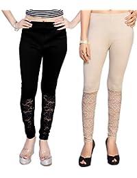 Comix Cotton Lycra Fabric Women Bottom Net Full Leggings Combo Set Of 2(AGSPL-3138-IEX-LG-10-CMB2-VE17-L)