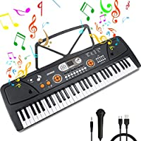 Kids Piano, 61Key Piano Keyboard Portable Digital Electronic Keyboard with Music Stand & Microphone & Interactive LCD Screen, Educational Toys Best Gift for Boys&Girls