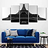 SUNSUNNY Canvas Prints, Wall Art Prints on Canvas Eiffel Tower Black White Printing Picture Modern Split 5 Pieces HD Artwork for Living Room Bedroom Home Office Decorations (Frameless),M