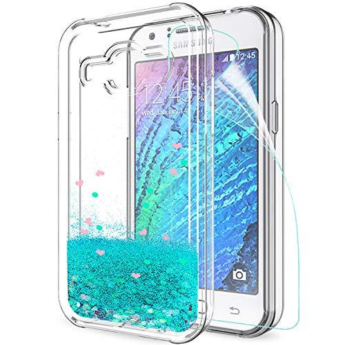 LeYi Compatible con Funda Samsung Galaxy J1 2015 Silicona Purpurina Carcasa con HD Protectores de Pantalla,Transparente Cristal Bumper Telefono Gel TPU Fundas Case Cover Para Movil J1 2015 Turquoise