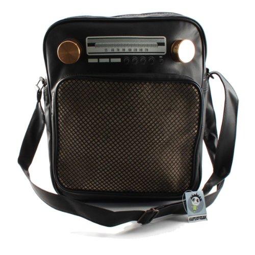 """Superfreak® Tasche """"Radio"""" Umhängetasche Radiotasche groß & hoch, alle Farben!!! Schwarz"""
