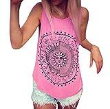 SEWORLD Tanktop Damen Frauen Sonne Gedruckt Tank Tops Bluse Casual Ärmellos Weste T-Shirt Oberteil (Pink,M)