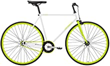 Sprint FIXED Bicicleta Fixie Cuadro de acero Ruedas de 28″, color blanco verde