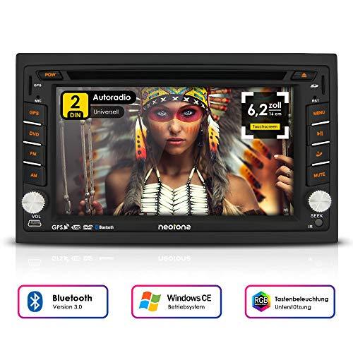 NEOTONE NDX-300W | Navigation mit Europakarten 2019 | universelles 2DIN Autoradio | 6.2 Zoll | Radarwarnsystem | Bluetooth | Touchscreen | DVD-Player | 16GB MicroSD inklusive Multimedia-micro-audio-system
