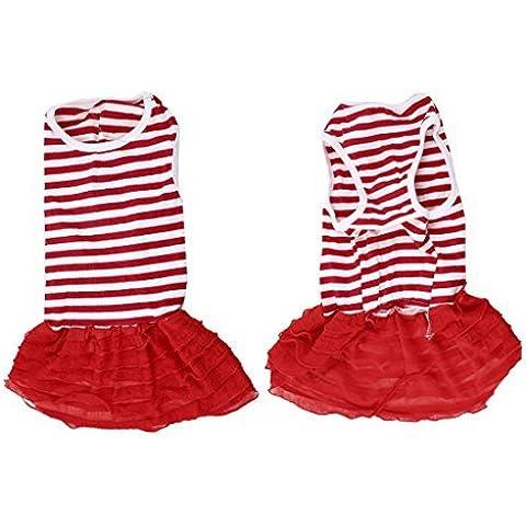 Water & Wood Round Collar Layered Red White Stripe Pattern Pet Dog Dress Skirt XS