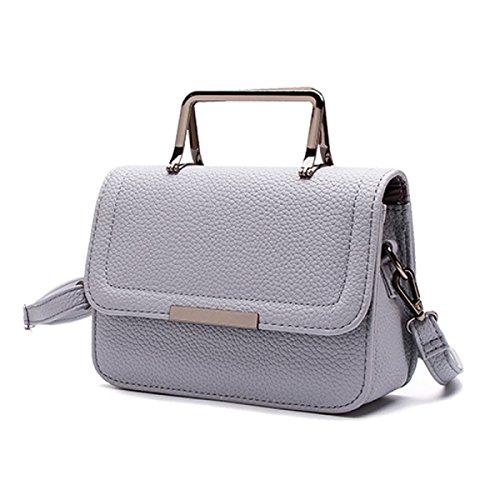 LWJH Damen-Tasche Neu Mode Kleine Quadratische Tasche Litchi Muster Handtasche Handtasche Schulter Diagonal Wild,Gray-OneSize