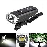 OUTERDO Fahrradlicht, Fahrradbeleuchtung 600 Lumen LED USB wiederaufladbares Fahrrad Frontlicht IPX4 Wasserdichter Scheinwerfer,Schwarz