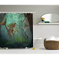 Ambesonne Mermaid Decorations Collection, With Seahorse Underwater World Fantasy Design, Polyester Fabric Bathroom Shower Curtain Set Hooks, 75 Inches Long, Beige Darksea Green