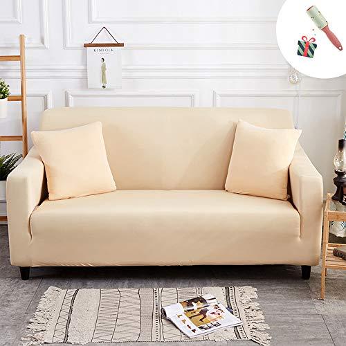 Elastisch Sofa Überwürfe Sofabezug, Morbuy Ecksofa L Form Stretch Antirutsch Armlehnen Einfarbig Sofahusse Sofa Abdeckung Hussen für Sofa Couchbezug Sesselbezug (1 Sitzer,Beige)