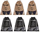 #4: Yellow Weaves™ Shoe Pouch/Cover/Bag/Organiser, Beige & Black Color - Set of 6