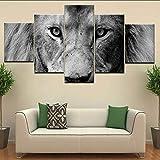 hhlwl 5 Panel/piece HD Drucken Ein Löwe der Welt Tier moderne Wand Poster Leinwand Kunst Malerei für Zuhause Wohnzimmer Dekoration-10x15/20/25cm-frame