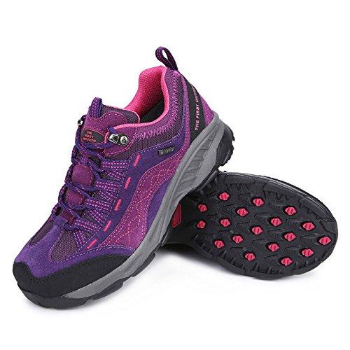 TFO Damen Wasserabweisende Trekkingschuhe & Wanderschuhe Atmungsaktive Bergschuhe & Outdoor Schuhe mit Air Einlegesohle, Dunkel Violett, 37 EU