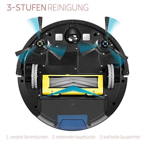 ILIFE A7 Saugroboter mit App Steuerung | WLAN | Fallschutz | automatischer Staubsauger Roboter mit Ladestation | ideal für Hartböden wie Laminat etc | Leise | 600ml Staubtank | LCD Display, schwarz - 2