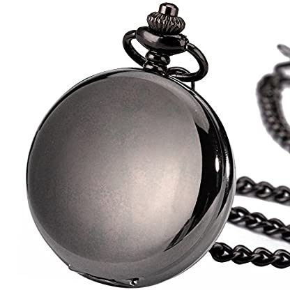 125ed9ae6c7f BestFire Pocket Watch Vintage Smooth Quartz Pocket Watch Classic Fob Watch  with Short Chain for Men ...
