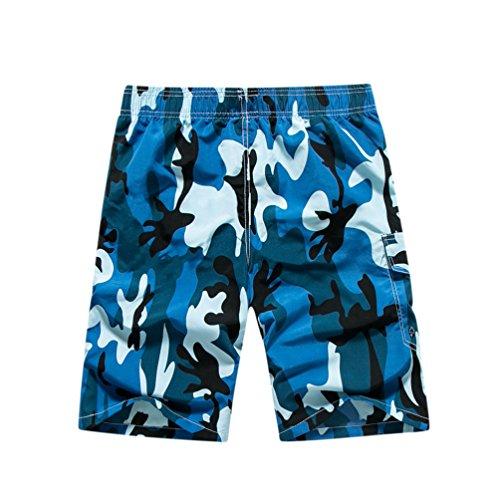 YoungSoul Herren Camouflage Badehose / Surfer Boardshorts / Beachshorts Badeshorts Sommer Strand / Knielang Blau