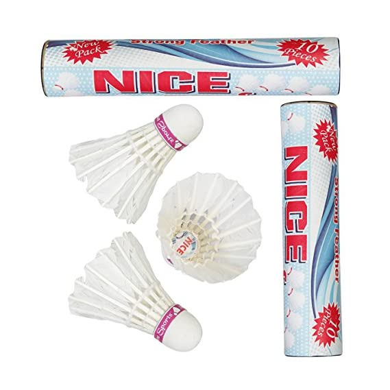 VOXAMIN NC-10 Nice Strong Feather Badminton Shuttlecocks Pack of Two Boxes (10 Shuttlecocks in Every Box).