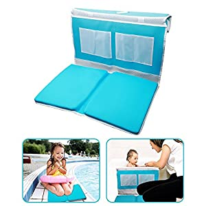 Care Baby Bath Kneeler Safety Baby Bath Kneeler Pad and Elbow Rest Detachable Bathtub Comfort Folded, Blue