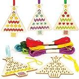 Kits de Punto de Cruz de Madera para Crear árboles de Navidad Decorativos, perfectos para Decoraciones y Manualidades Infantiles (Pack de 5).