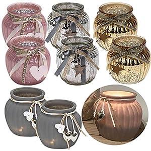 LS Design 2x Windlicht Glas Kugel Teelichthalter Kerzenständer Kerzenhalter Shabby Rosa Herz 11,5x10,5cm 2 Stüc