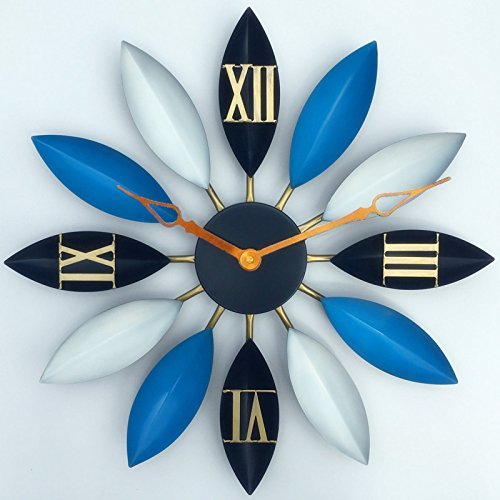 Wall clocks orologio da parete campana famiglia pendolo parete - retro europeo e americano loft foglia di loto appeso a parete in ferro orologio da bar orologio da muro a