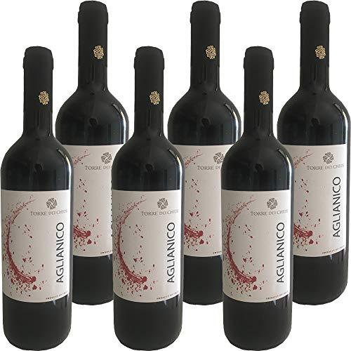 Aglianico del Beneventano IGP | Torre dei Chiusi | Confezione da 6 Bottiglie da 75 Cl | Vino Rosso Italiano | Campania