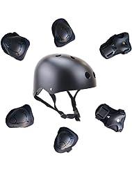 GIM de los niños scooter Hoverboard BMX Casco de la bici, gel rodilla rodilleras, coderas y almohadillas de mano Negro negro