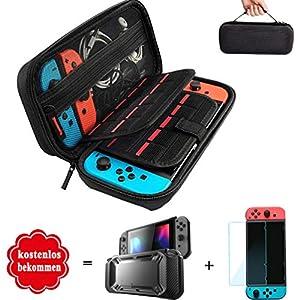 Lachesis Nintendo Switch Hülle, Transparent Schutzhülle für Nintendo Switch mit Gehärtetem Displayschutz (3-in-1)