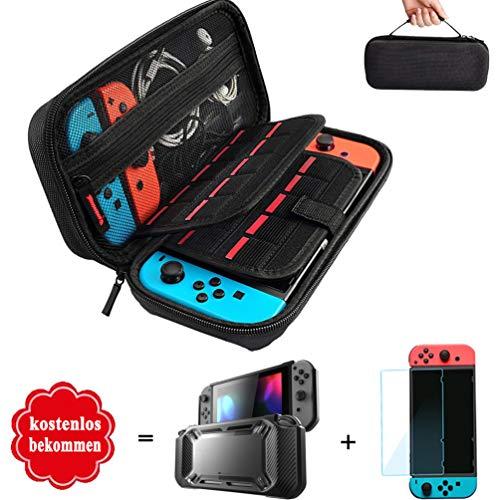 Nintendo Switch Tasche, Aufbewahrung für Nintendo Switch Spiele, Hartschalen Case Schutzhülle und Displayschutzfolie für Nintendo Switch Konsole & Zubehör mit Größerem Speicherplatz Tragetasche