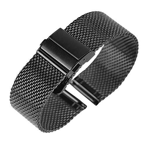Hohe Uhrband Qualität 18mm Henziy-Uhrenarmband-Strap8386 20mm 22mm Armband Mode Silber Schwarz Unisex Armbanduhr Edelstahl Mesh Band