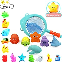 Livecitys Baby Bath Toys, Animal Doll Shark Fishing Net Squeaky Sprinkler Baby Squeeze Toy 19Pcs/Set, Girls and Boys Beach Pool Fun Tub Time