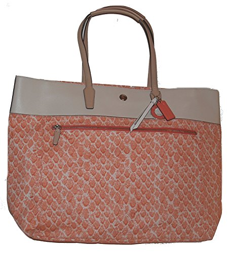 Coach Resort Snake Print Extra Large Tote F26129 Peach Multicolor (Trim Large Tote)