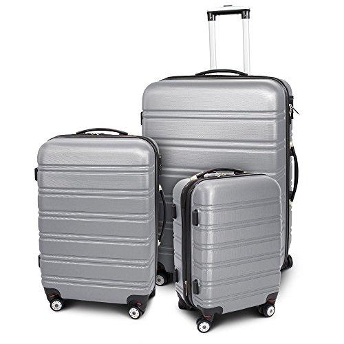 BERWIN Kofferset 3-teilig Reisekoffer Trolley Hartschalenkoffer ABS Teleskopgriff Modell Line (Silber)