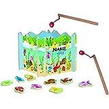 Angelspiel aus Holz - mit 15 Fischen - Holzaufsteller + 2 Stück Angel - angeln für Kinder - mit Magnet - Spiel Fischeangeln / Kinderspiel Spiel magnetisch - Wasser Fische Fisch - Angelset