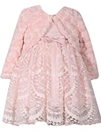 3426b3fed Bonnie Jean Baby Girls Dusty Pink Size 12M-24M Fur Lace Dress Set (12M