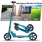 Scooter für Jugendliche und Erwachsene 200mm Big Wheels Klappbar Faltbarer und Höhenverstellbarer, klappbar-City-Scooter Tret