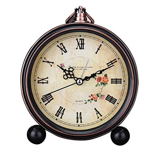 Reloj Despertador Estilo Europeo para Hogar Moderno Sobremesa Silencioso Redondo Vintage Números Romanos...
