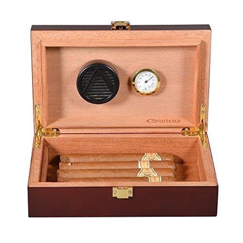 Zigarren Humidor, Volenx Tragbarer Reise Humidor in Dunkel Braun mit Hygrometer, für 10-15 Zigarren