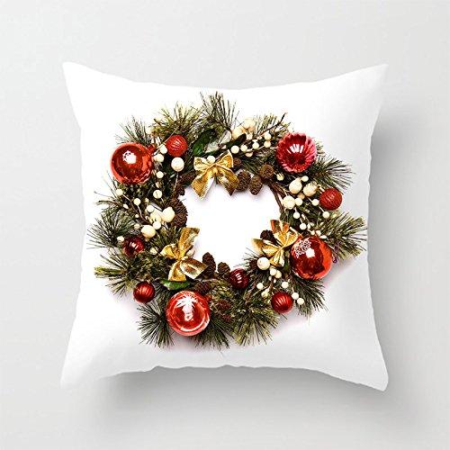 yinggouen Natale anello Foglie decorate per un divano federa Cuscino 45x 45cm - Cuscino Dell'anello Set