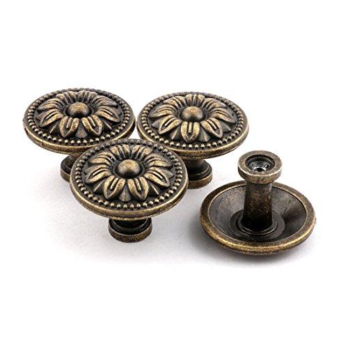 Preisvergleich Produktbild sourcingmap® 4Stk Haushalt Metall Vintage Stil Schrank Türgriff Pull Knob Bronze Ton