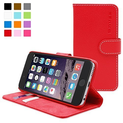 Schutzhülle für iPhone 6, Snugg TM-Tasche Rot Flip Kunstleder mit Lebenslange Garantie für Apple iPhone 6