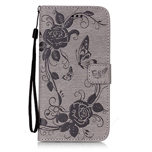 iPhone 8 Plus custodia a portafoglio, Ledowp Apple iPhone 8 Plus Premium custodia a portafoglio in pelle PU, Full Body Butterfly pattern design magnetico staccabile in pelle portafoglio Flip Cover per Grey