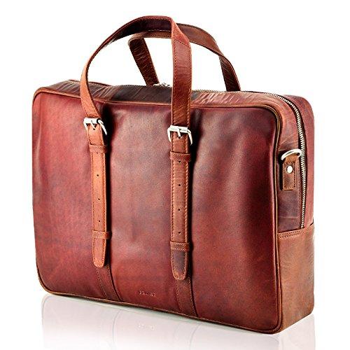 Echt Leder Aktentasche Schultertasche Umhängetasche DIN-A4 Laptoptasche 15,6 Henkeltasche Messenger Bag braun Cognac