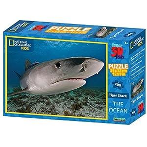 National Geographic Puzle 3D, diseño de el tiburón Tigre del océano, (100 Piezas
