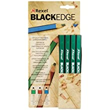 Rexel Blackedge Carpenters Pencils - Hard, Box of 12 , 34332