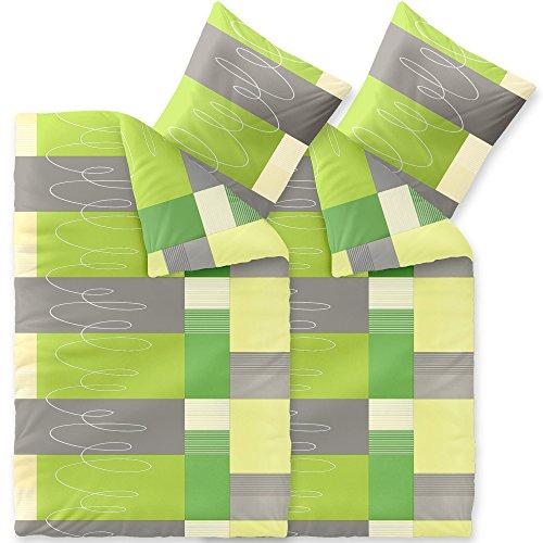Bettwäsche 4tlg 135x200 Baumwolle Set Kopfkissen Bettbezug Reißverschluss atmungsaktiv Bett Garnitur 80x80 Kissen Bezug CelinaTex 6000013 Fashion Ellen grün grau beige