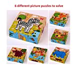 9 Piece Colorful Wooden Block Picture Puzzle for Toddlers and Small Children - Animal Theme