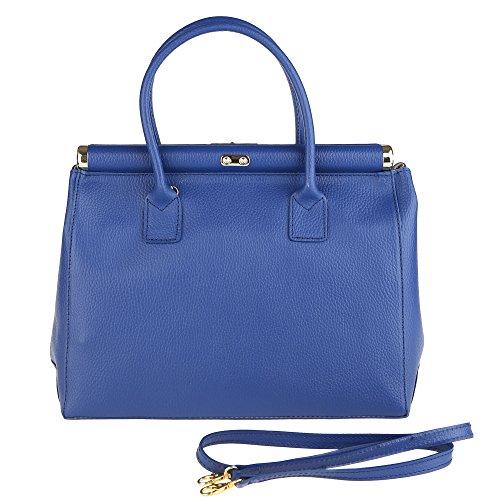 Chicca Borse Femme Sac à main avec épaule en cuir véritable Fabriqué en Italie 35x28x16 Cm Bleu royal