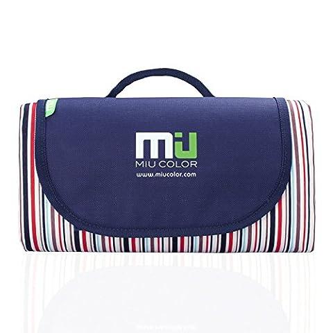 MIU COLOR® Tapis/Couverture De Pique-nique Imperméable Pliable Portable (rayure blanche bleue et rouge)