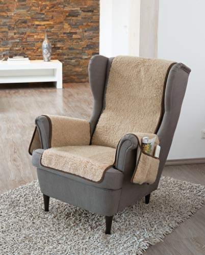 K. & N. - Copripoltrona in lana vergine con protezione per i braccioli, strato di base: 100% poliestere, parte centrale 200 x 50 cm, circa 60 x 40 cm